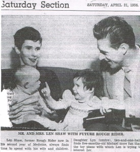 Lynn with parents and sibling in 1956